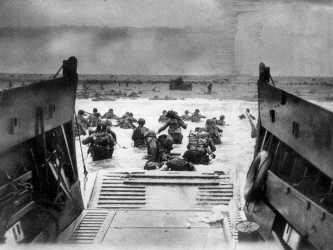 Close-fought thing ... Allied soldiers storm ashore during the D-Day landings in Normandy, France. Picture: LIFE magazine