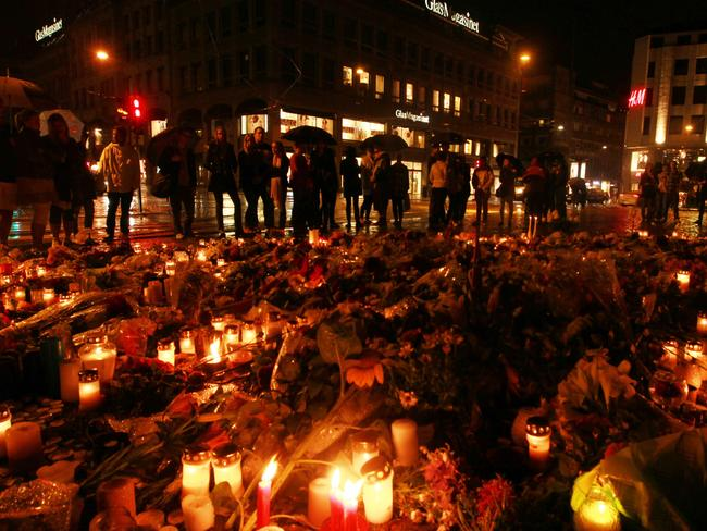 Candlelight vigil for victims of the Norway massacre held in the city centre of Oslo. Picture: Britta Campion