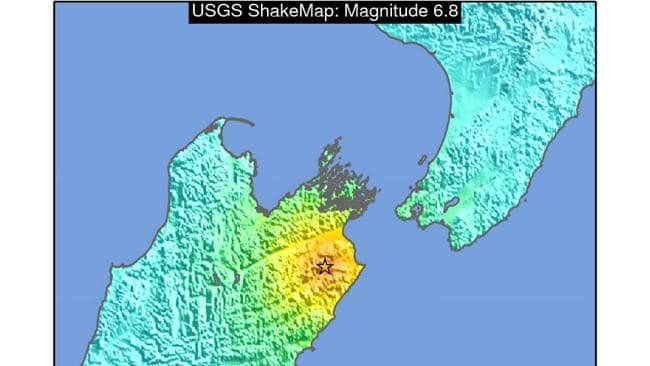 The US Geological Survey's map of the affected area.