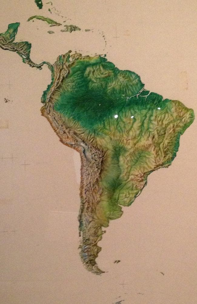 An original watercolour of South America done as preparatory artwork for Odham's New Illustrated Atlas of the World, published in 1957.