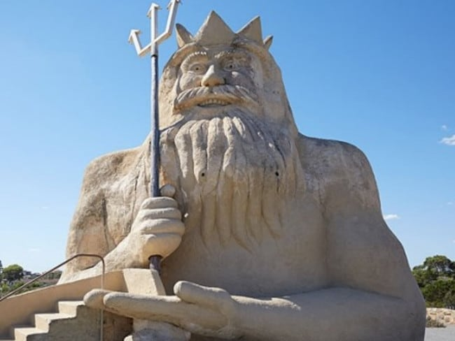 The King Neptune statue has been restored to its former glory.