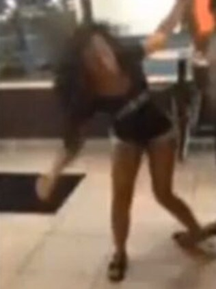 Bashed ... The victim struggles to stand after the fight. Picture: Facebook/WDAM TV
