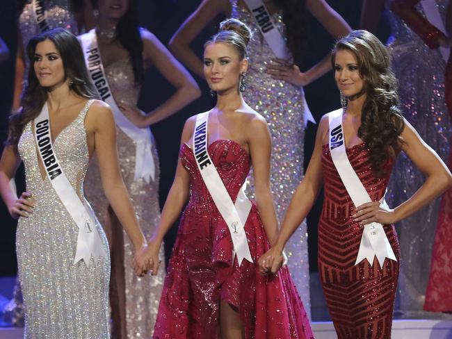 Finalists ... Miss Colombia Paulina Vega, Miss Ukraine Diana Harkusha and Miss USA Nia Sanchez onstage during The 63rd Annual Miss Universe Pageant. Picture: Alexander Tamargo/Getty Images