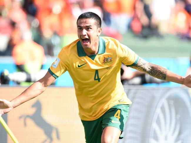 Tim Cahill celebrates his legendary World Cup goal.