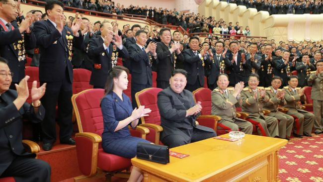 Kim Jong-Un and his wife Ri Sol-Ju take centre stage at the performance. Photo: AFP PHOTO/KCNA VIA KNS