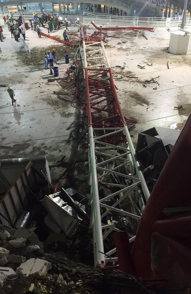 Commentators have suggested the Saudi Binladin Group fell out of favour with the Saudi government in the wake of the deadly crane collapse. Picture: Saudi Interior Ministry General Directorate of Civil Defence via AP