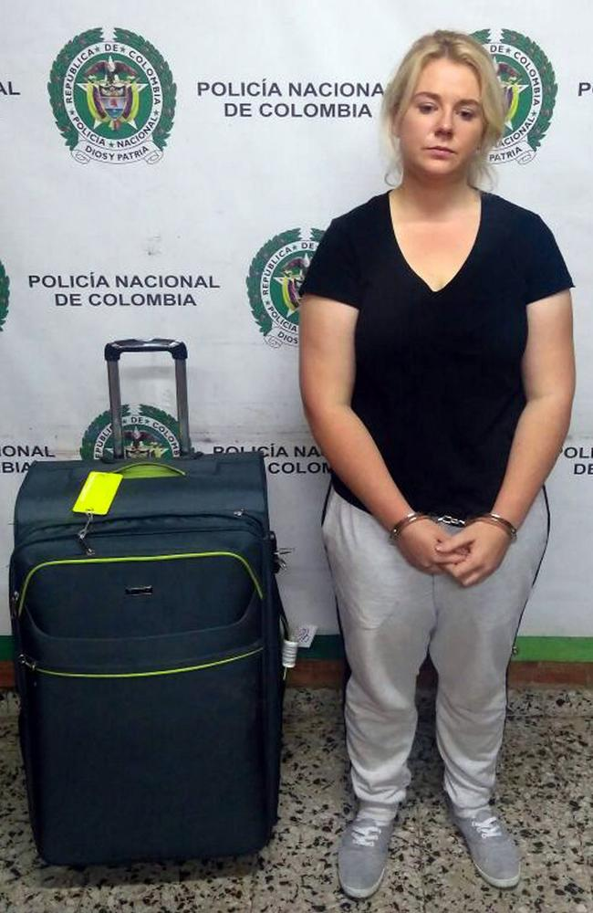 Cassandra Sainsbury with her luggage, which was found to contain 5.8 kilograms of cocaine. Picture: Supplied