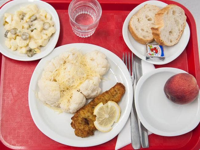 Friday is potato and pickle salad, breaded fish and cauliflower, cheese and a peach. Picture: Carine Duflos