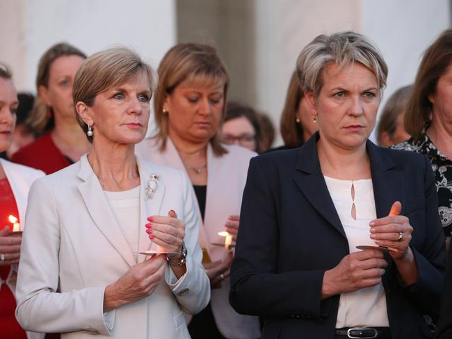 Vigil ... Ms Bishop and her Opposition counterpart Tanya Plibersek light candles for the condemned Bali Nine ringleaders.
