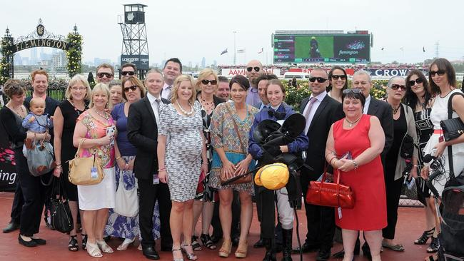 Owners of First Light Racing's Miss Maggiebeel celebrate her win at Flemington in January. Picture: Slickpix
