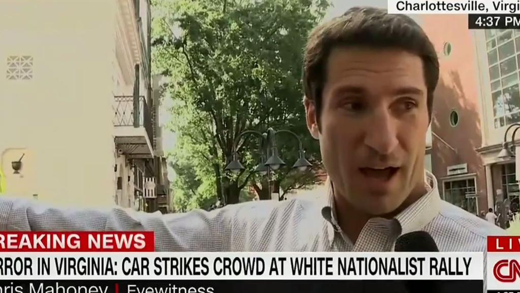 Chris Mahoney detailed what happened after a car hit a crowd of people at Charlottesville. Picture: Screengrab