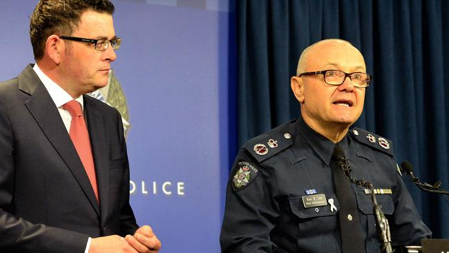 Former Victoria Police Chief Commissioner Ken Lay and premier Daniel Andrews. Picture: Steve Tanner