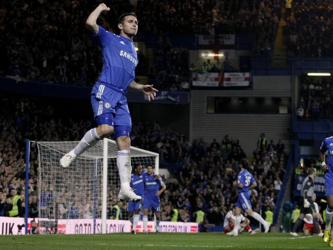 Frank Lampard celebrates after scoring a goal for Chelsea.