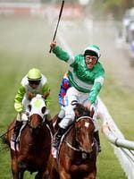<p>Oliver celebrates after winning the 2012 Derby. Picture: Michael Klein</p>