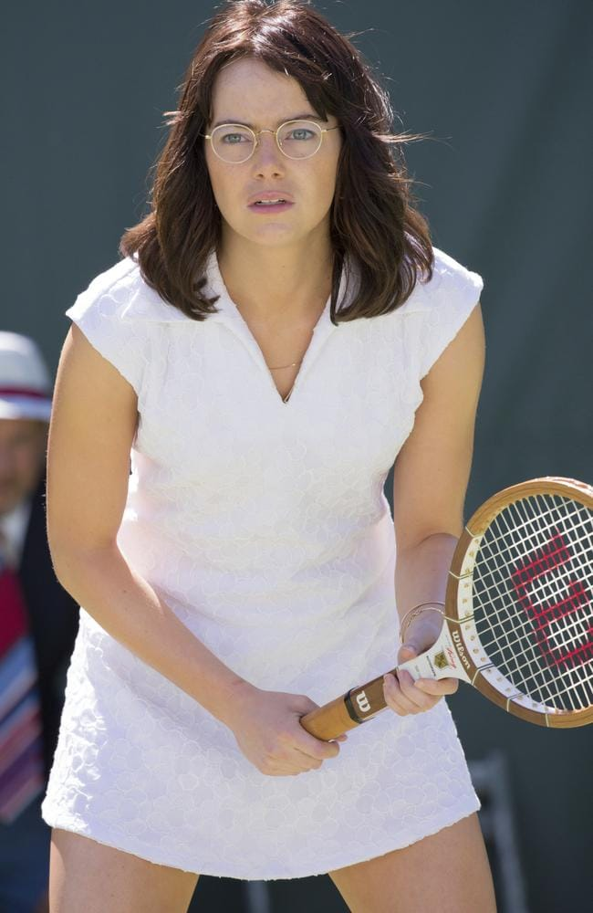 Stone in a scene from her new movie, <i>Battle of the Sexes</i>. Picture: Melinda Sue Gordon / Fox Searchlight Pictures via AP.