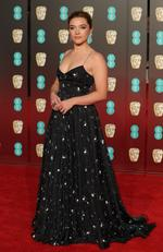 British actress Florence Pugh poses on the red carpet upon arrival at the BAFTA British Academy Film Awards at the Royal Albert Hall in London on February 18, 2018. Picture: AFP PHOTO / Daniel LEAL-OLIVAS