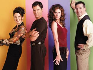 "Cast of TV program ""Will and Grace"" (L-r) actor Megan Mullally with Eric McCormack, Debra Messing and Sean Hayes. /TV/programs/Titles/Will/and/Grace"