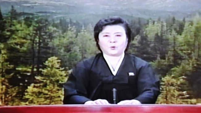State TV announces the death of Kim Jong Il. The cause of death was heart attack brought about by overwork and stress. Picture: SUpplied