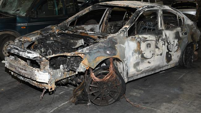 The burnt out Subaru. Picture: NSW Police