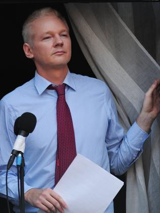 Back in 2012 ... Wikileaks founder Julian Assange at the Ecuadorian Embassy. Picture: AFP