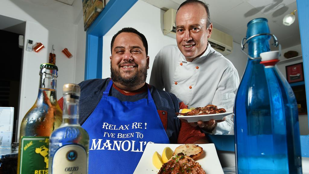 <s1>  Manoli's owner Manoli Papathomas (seated) and head chef Christos Makrynakis prepare for the Territory Taste Festival </s1>.  <source></source>Picture: PATRINA MALONE  <source></source>