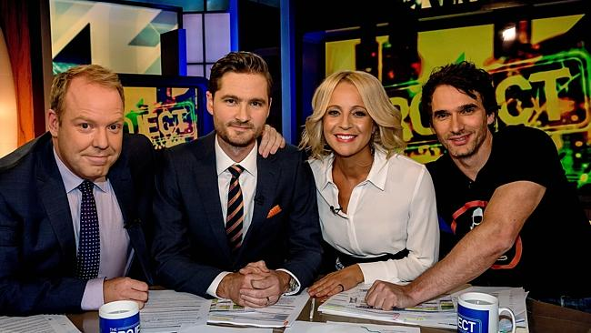 Pickering, second from left, with Peter Helliar, Carrie Bickmore and Todd Sampson.