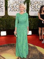 Golden Globes 2014 red carpet arrivals: Helen Mirren trys a shade of green in a Jenny Packham gown. Picture: Getty