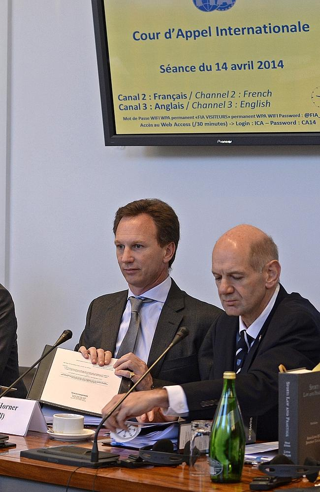 Red Bull's team principal Christian Horner and technical director Adrian Newey at the hearing.