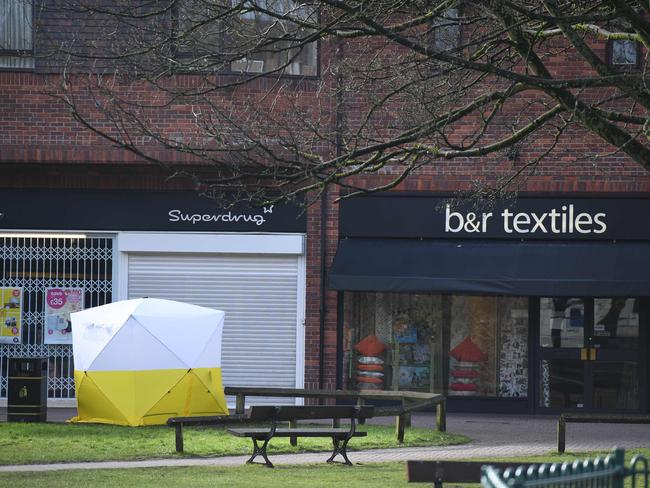 Police tent at The Maltings shopping centre two days after the nerve gas attack. Picture: Chris J Ratcliffe.