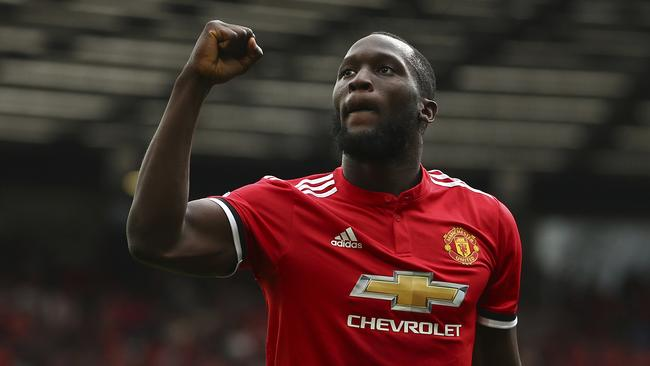 Manchester United's Romelu Lukaku celebrates scoring his side's second goal of the game during the English Premier League soccer match between Manchester United and West Ham United at Old Trafford in Manchester, England, Sunday, Aug. 13, 2017. (AP Photo/Dave Thompson)