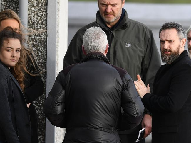 Cranberries guitarist Noel Hogan (far right) outside the church before Dolores O'Riordan's funeral. Picture: Jeff J Mitchell/Getty Images
