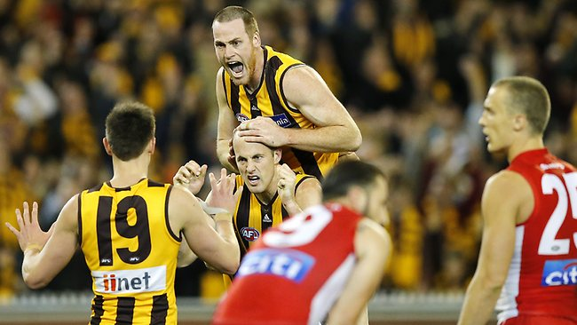 Hawthorn forward Jarryd Roughead celebrates as the Hawks book their spot in the preliminary finals. Picture: Wayne Ludbey