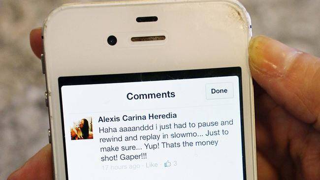 Close up of Jessie Nizewitzher's phone with Dating Naked Facebook page on VH1 comments.