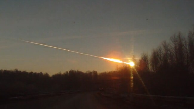 The meteor just before it exploded above the Chelyabinsk region in Russia, breaking windows and causing injuries.