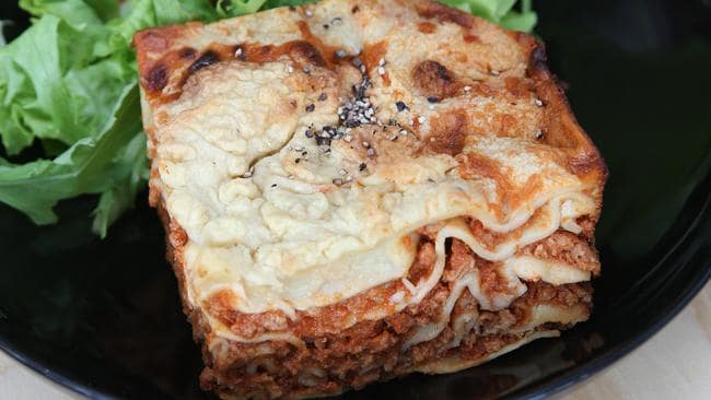 Vegetarian lasagne at Suzy Spoon's Vegetarian Butcher in Newtown.
