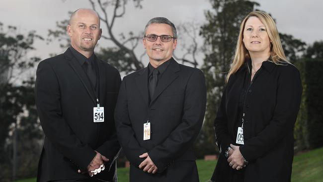 Keeping people safe ... Security guards Terri Ansett, Raphael Mastaing and Louie Guiliani. Picture: Ellen Smith