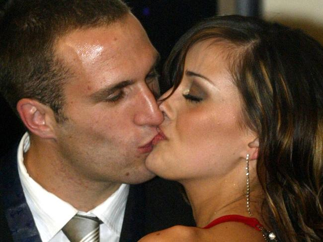 20/09/2004. Chris Judd and his girlfriend Rebecca Twigley. Brownlow medal count. Digital image.