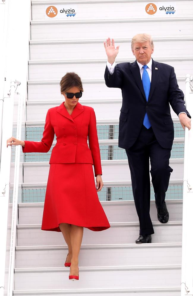 President Donald Trump and First Lady Melania arrive in Paris ahead of a meeting with Emmanuel Macron. Picture: Photo by Pierre Suu/Getty Images.