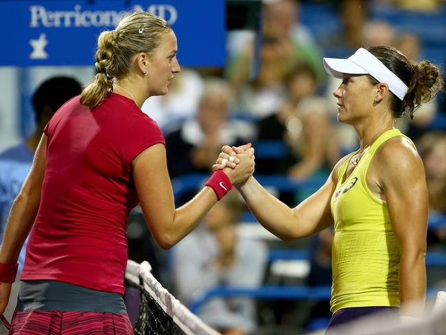 (L-R) Petra Kvitova of the Czech Republic is congratulated by Samantha Stosur of Australia during the Connecticut Open.