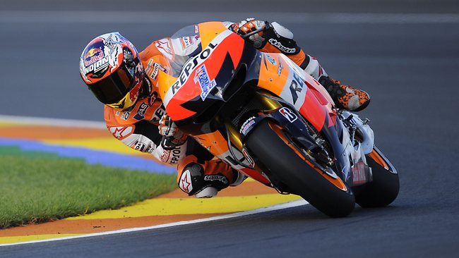 Casey Stoner finished third in his final race, the Valencia MotoGP.