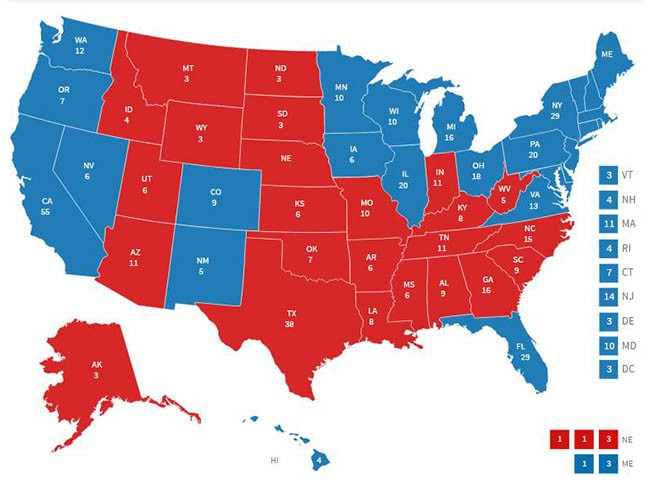 How The Electoral College Works US Election Donald Trump - Eelectrol map in us