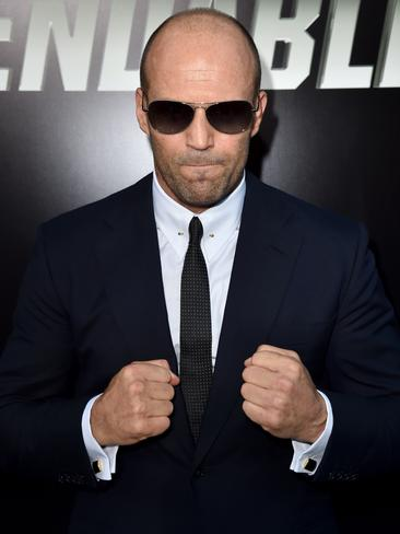 Statham acts tough in LA. Picture: Getty