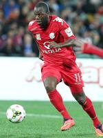 Adelaide United's Bruce Djite in action against Malaga at Adelaide Oval. Picture: Sarah Reed.