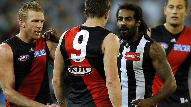 Harry O'Brien and Brendon Goddard face off. Picture: Wayne Ludbey