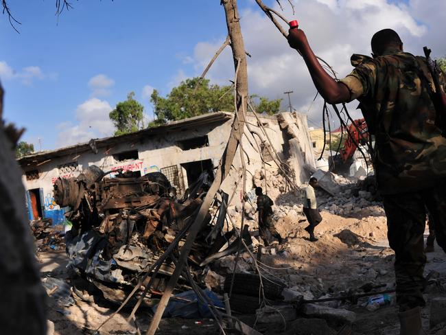 At least 23 people have died in the carnage. Picture: AFP/Mohamed Abdiwahab