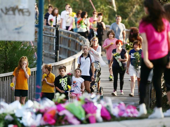 Friends and relatives leave floral tributes at the scene of Masa's Vukotic's murder. Picture: Norm Oorloff