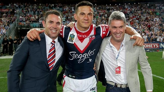 Brad Fittler (L), Sonny Bill Williams (C) and David Gyngell after the Roosters took out the 2013 grand final. Picture: Gregg Porteous