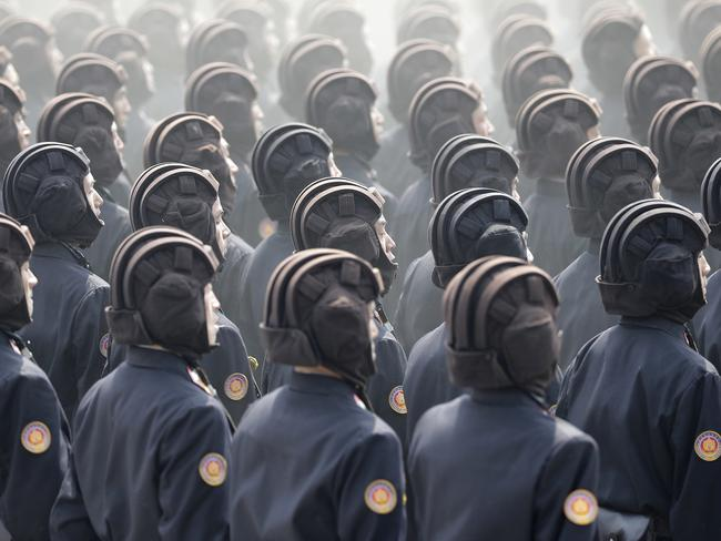 Soldiers march to celebrate the 105th birth anniversary of Kim Il-sung on Saturday. Picture: Wong Maye-E/AP