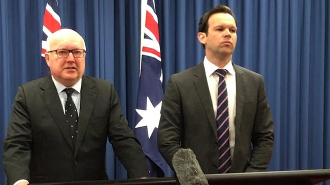 Federal Resources Minister Matt Canavan and Attorney-General George Brandis. Picture: AAP