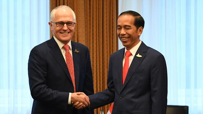 Indonesian President Joko Widodo (right) meeting Prime Minister Malcolm Turnbull in 2017. Picture: AAP Image/Lukas Coch.